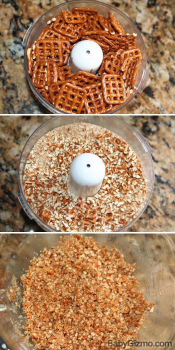 pretzels blending to crumbs