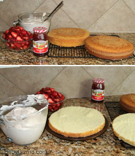 cake assembly of strawberry cake