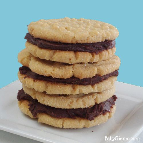 three stacked nutter butter cookies on plate