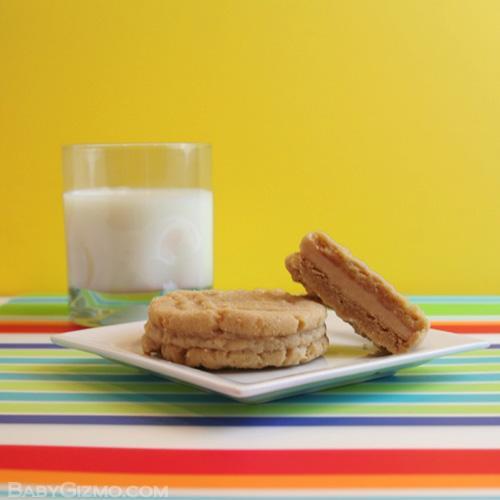 peanut butter sandwich cookies with milk