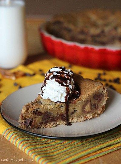 Pretzel Crusted Peanut Butter Cookie Blondie Pie