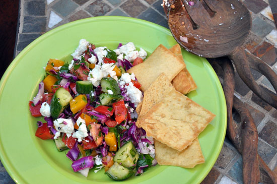 veggie salad on green plate