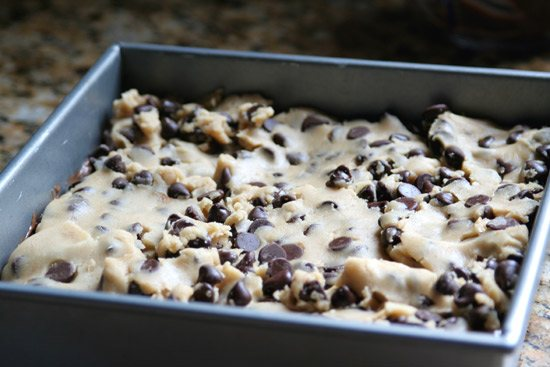 cookie dough in baking pan