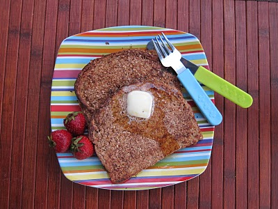 crispy wheat germ french toast on striped plate