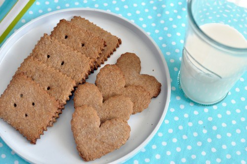 homemade graham crackers on white plate