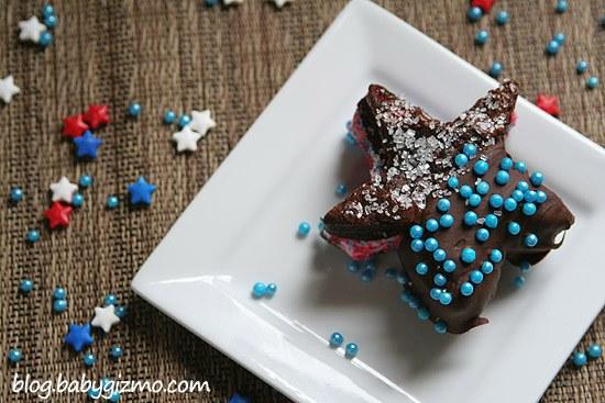 star shaped brownie ice cream sandwich on white plate