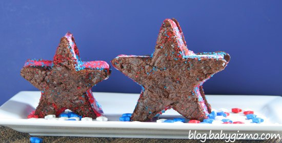 star shaped ice cream sandwiches on white plate