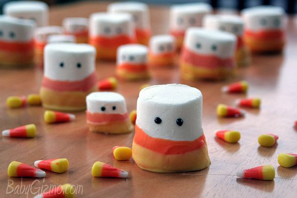 Marshmallow Candy Corn Ghosts