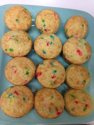 funfetti cupcakes on blue plate
