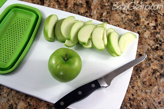cut up apple on cutting board