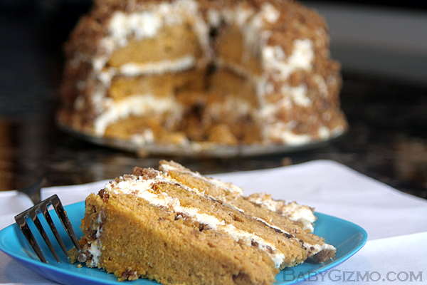 Pumpkin Crunch Cake with one piece cut on blue plate