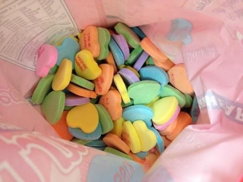 conversation hearts in bag