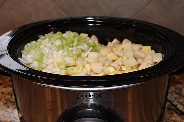 potatoes onions celery in crockpot