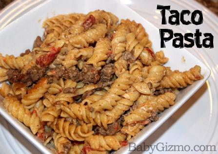 Creamy Taco Pasta in a white bowl