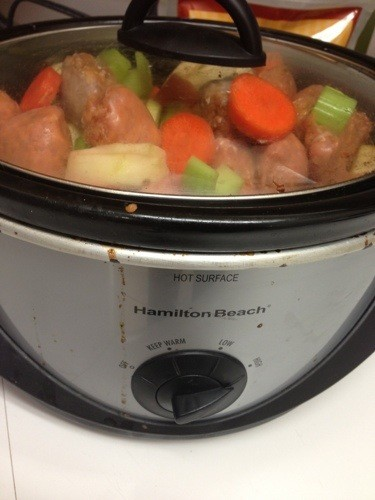 stew in crockpot with lid on