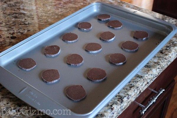 mint shortbread on baking sheet