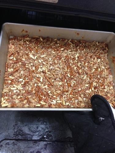 pretzel crust in pan