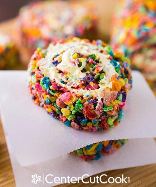 Rainbow Krispie Pinwheels