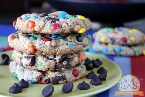 stack of Monster Cookies on yellow plate