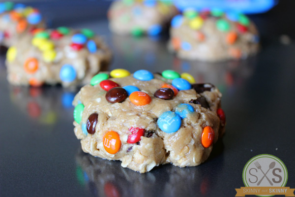 close up of cookie dough ball with m&ms
