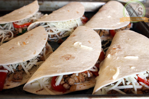 Turkey Quesadilla shells lined up on baking sheet