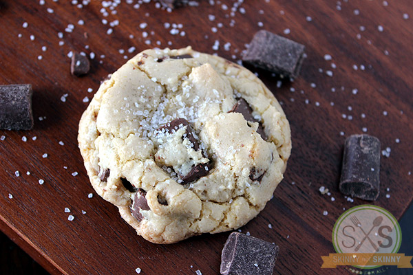 Brown Butter Cookie on cutting board with chocolate pieces
