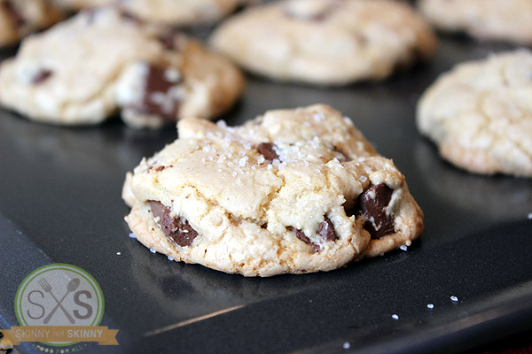 Salted brown butter cookies on baking sheet in oven