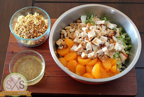Mandarin Chicken Salad in a metal bowl