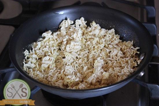 broken ramen noodles in a pan