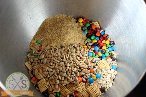 Granola Bar ingredients in a metal board