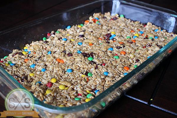 Granola Bars mixture in metal pan