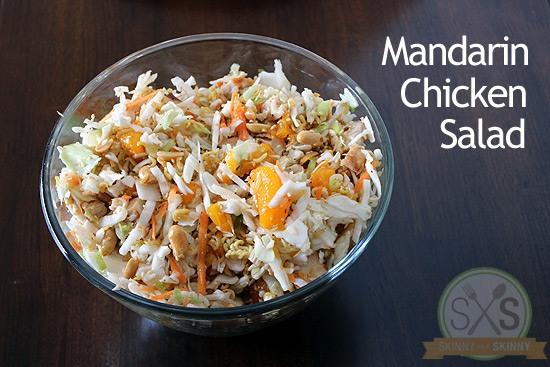 Mandarin Chicken Salad in a glass bowl