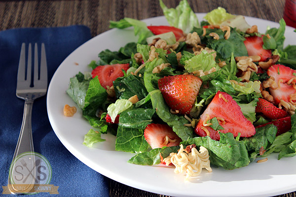 walnut Strawberry Salad on white plate