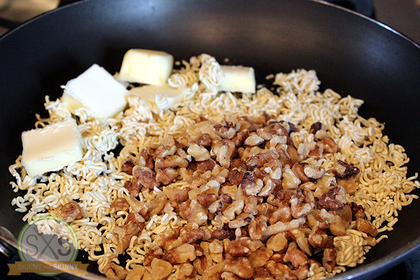 Walnuts, butter and ramen noodles in skillet