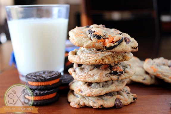 stack of five cookies next to glass of milk