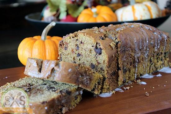 Pumpkin Chocolate Chip Bread cut into pieces on cutting board